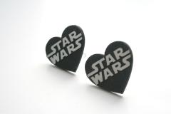 star wars stud heart earrings silver
