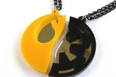 Star-Wars-Rebels-Empire-best-friends-necklaces-Laser-cut-mirror-yellow-black-plastic-1