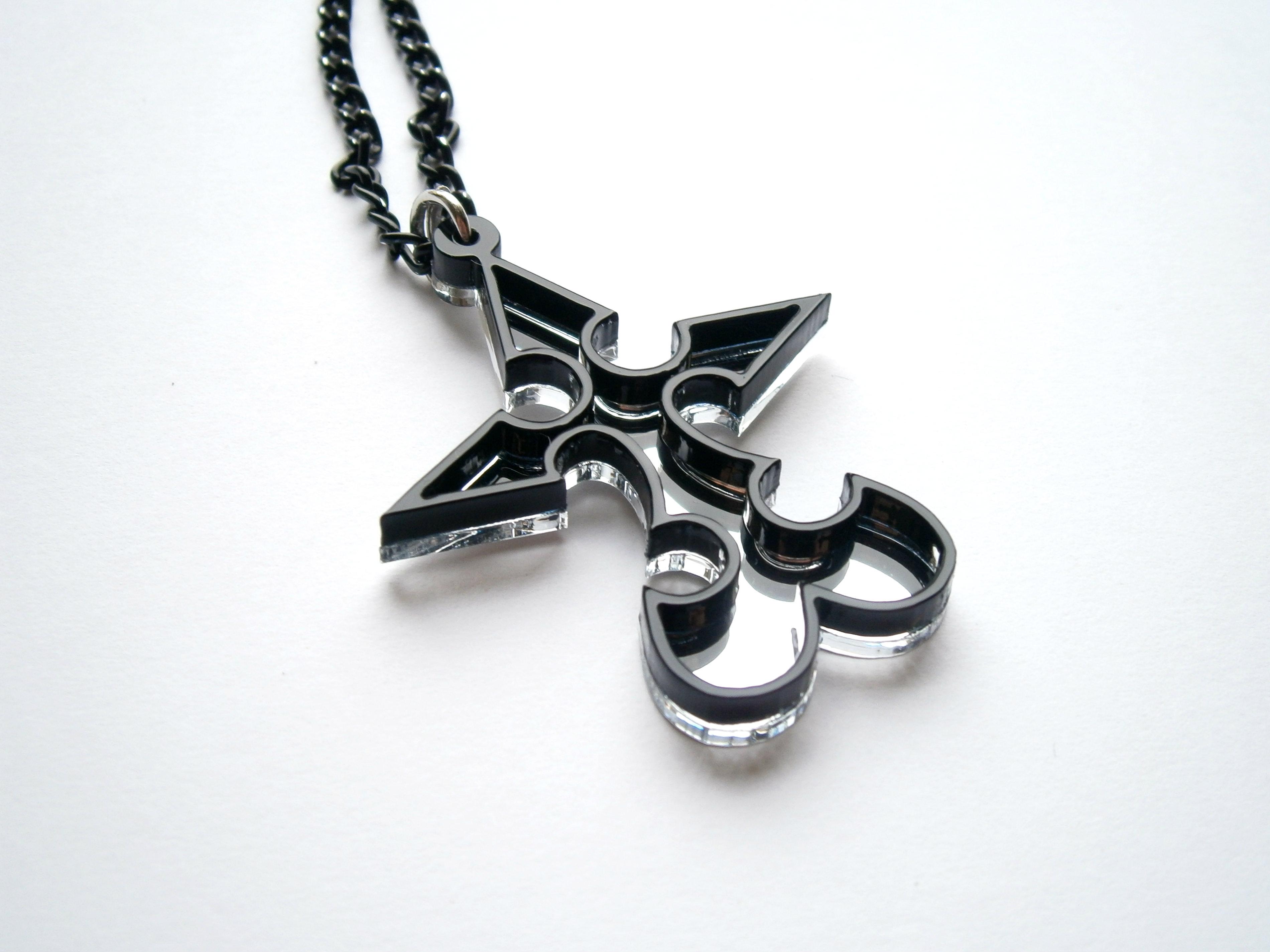 Kingdom Hearts Nobody Emblem Pendant Necklace Laser Cut Jewelry