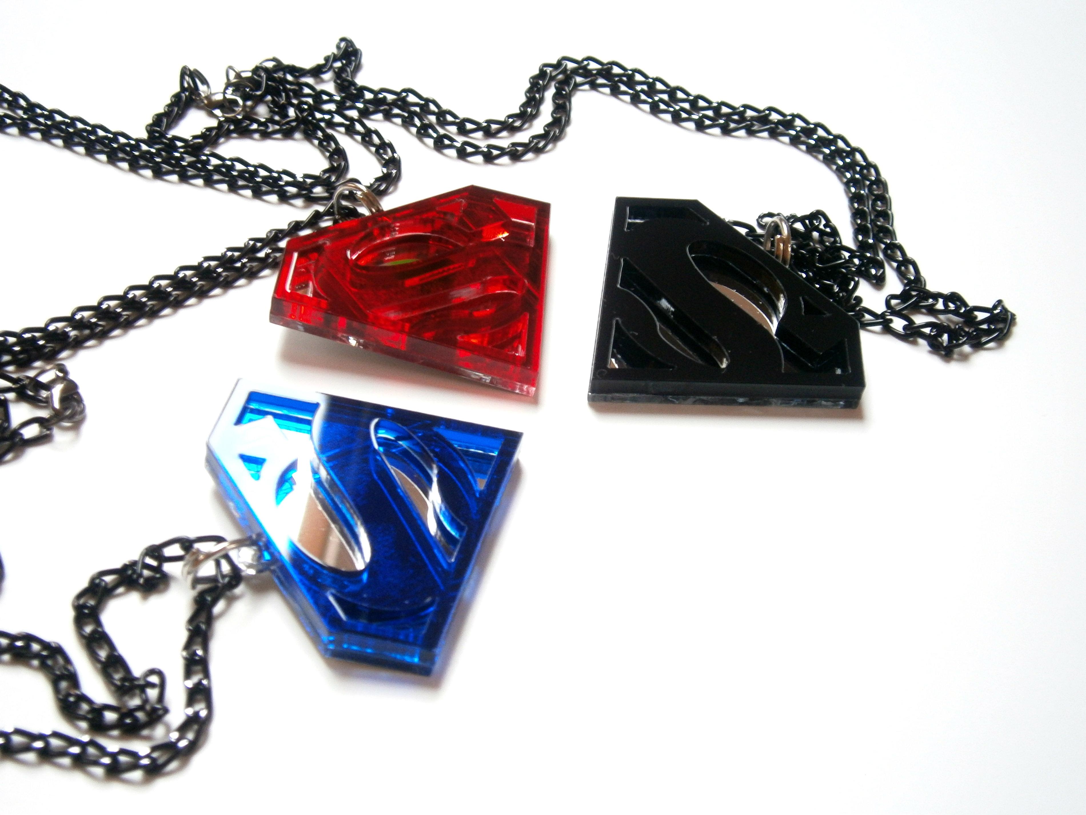 Black Superman Pendant Acrylic and Mirror plastic Superhero Necklace