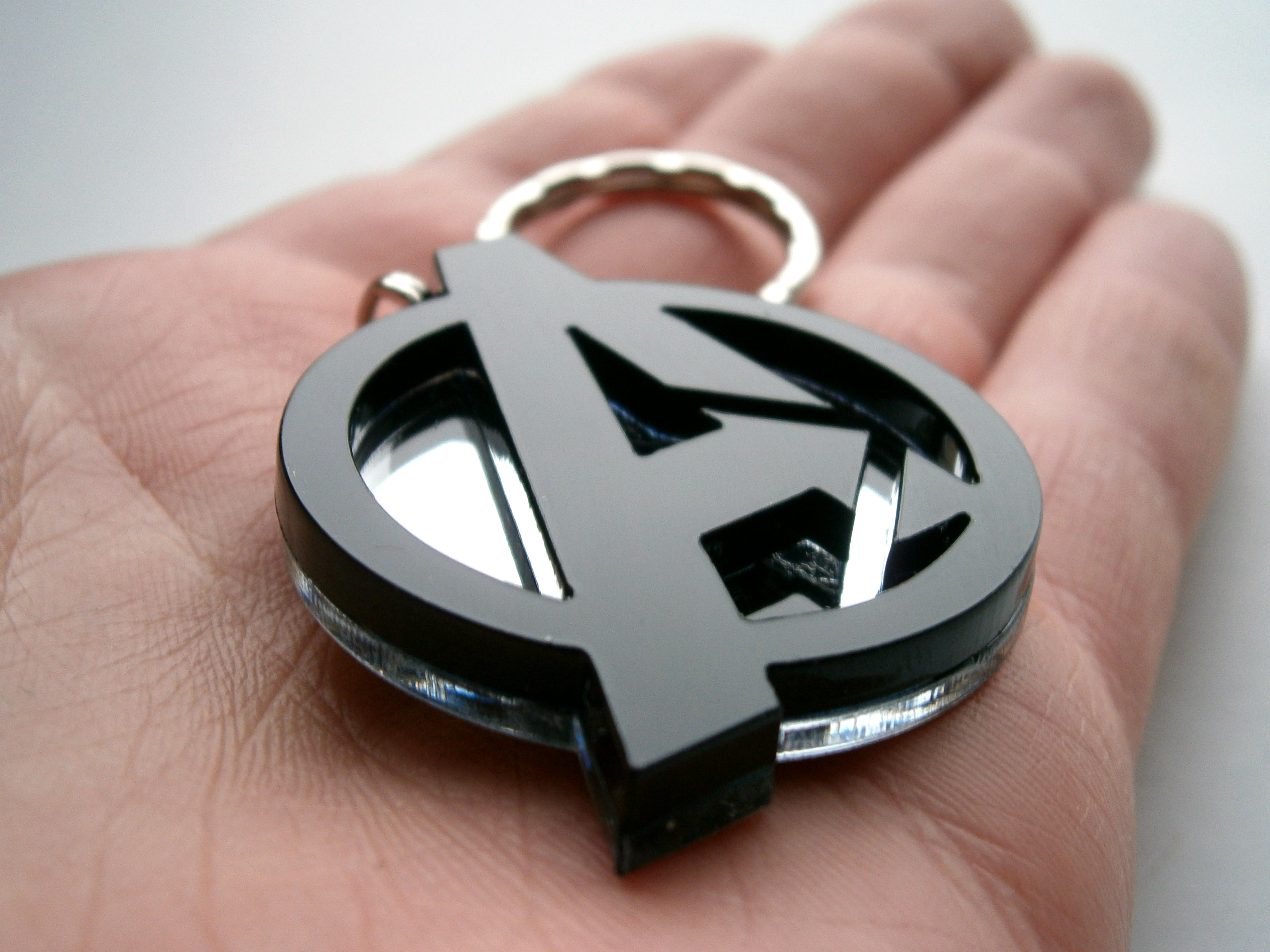 Avengers Necklace, Laser Cut Black and Mirror Avengers Logo Pendant Necklace - Laser Cut Jewelry