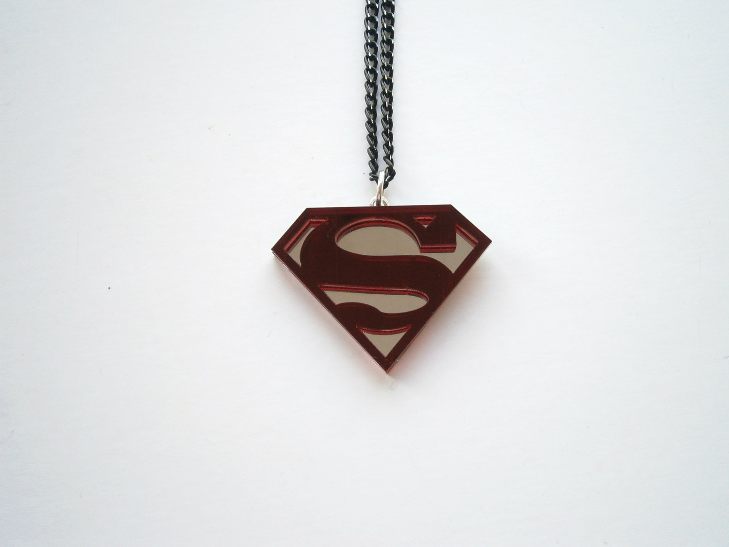 Red Superman Necklace - Red Acrylic and Mirror plastic Superhero ...