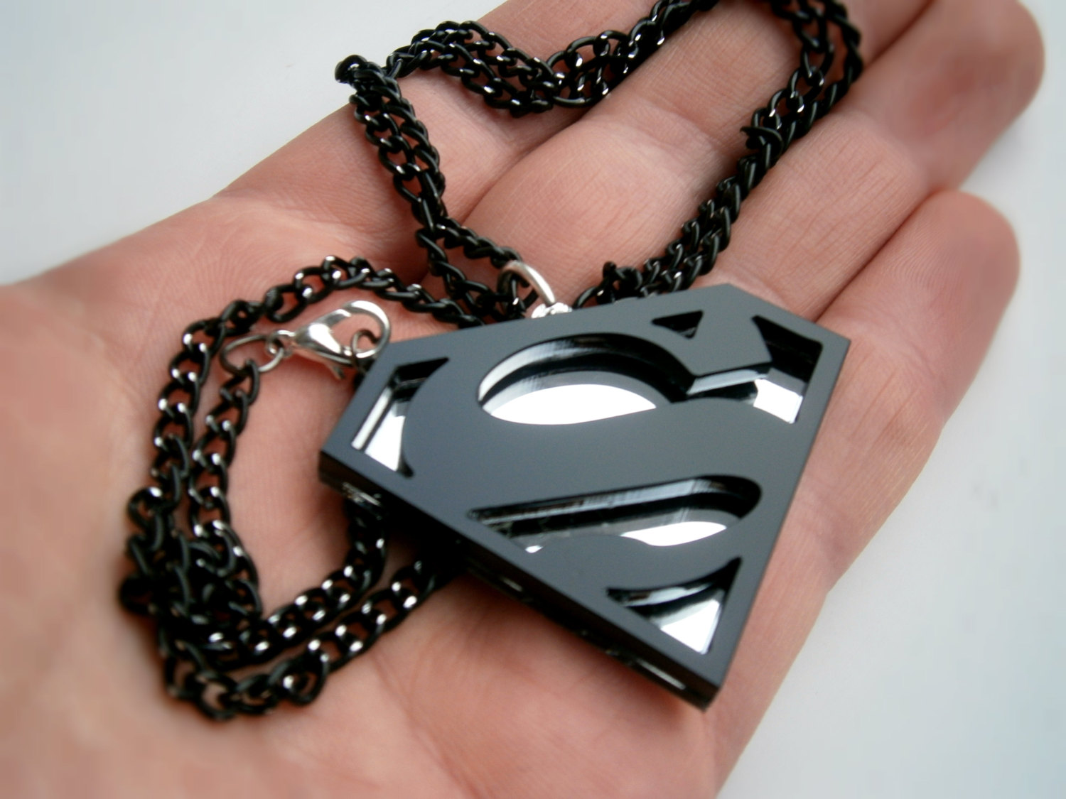 Black superman pendant acrylic and mirror plastic superhero necklace mozeypictures Gallery