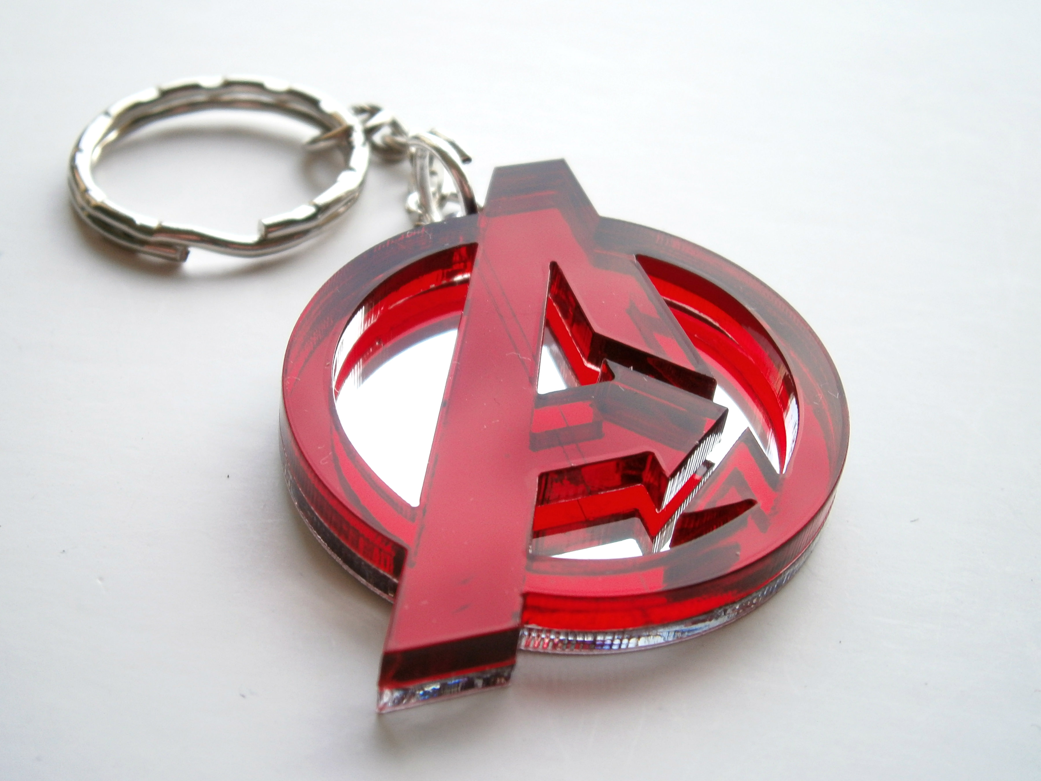 Avengers Keychain, Laser Cut Red and Mirror Avengers Logo ...