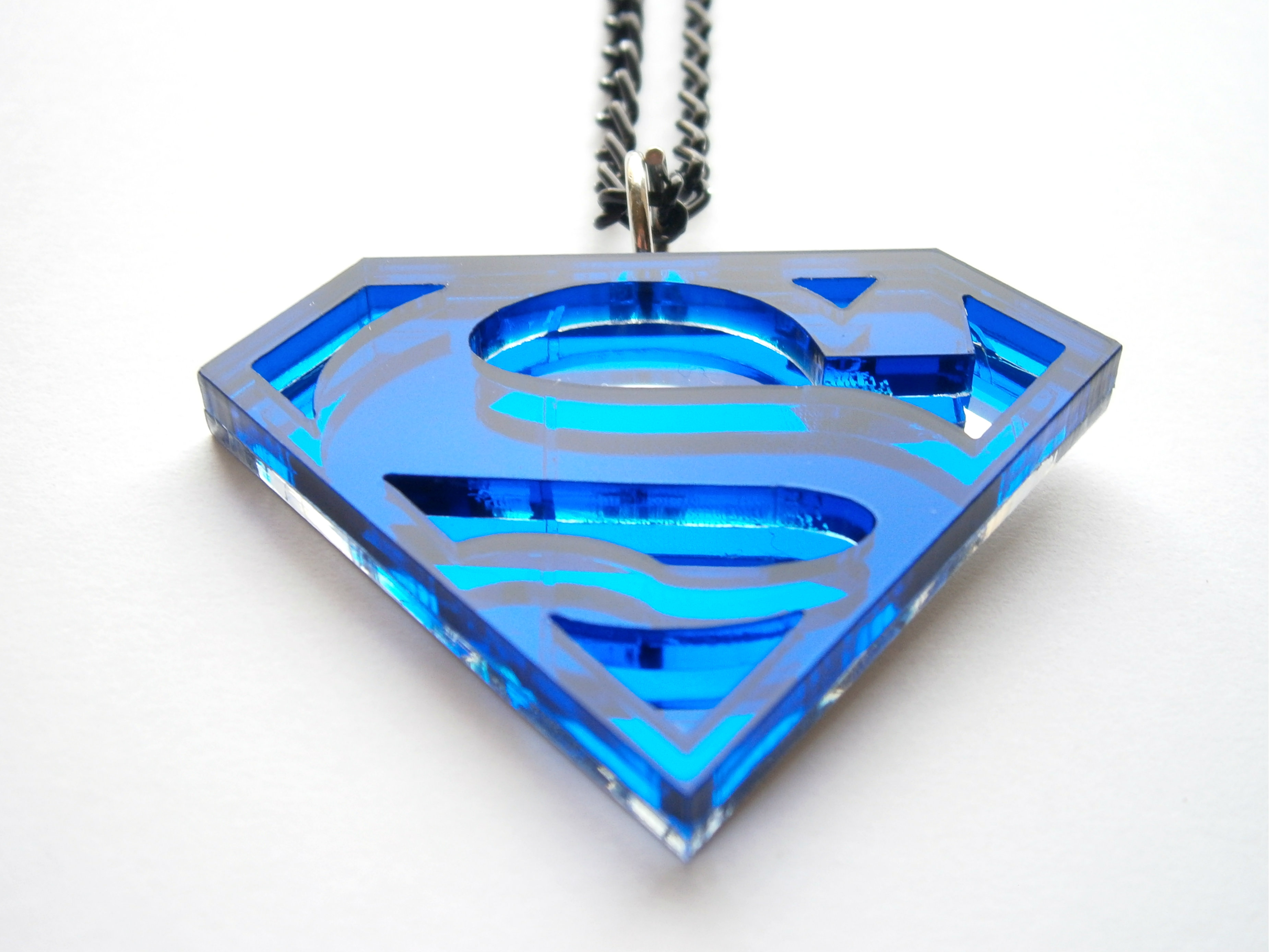 superman necklace blue acrylic and mirror plastic