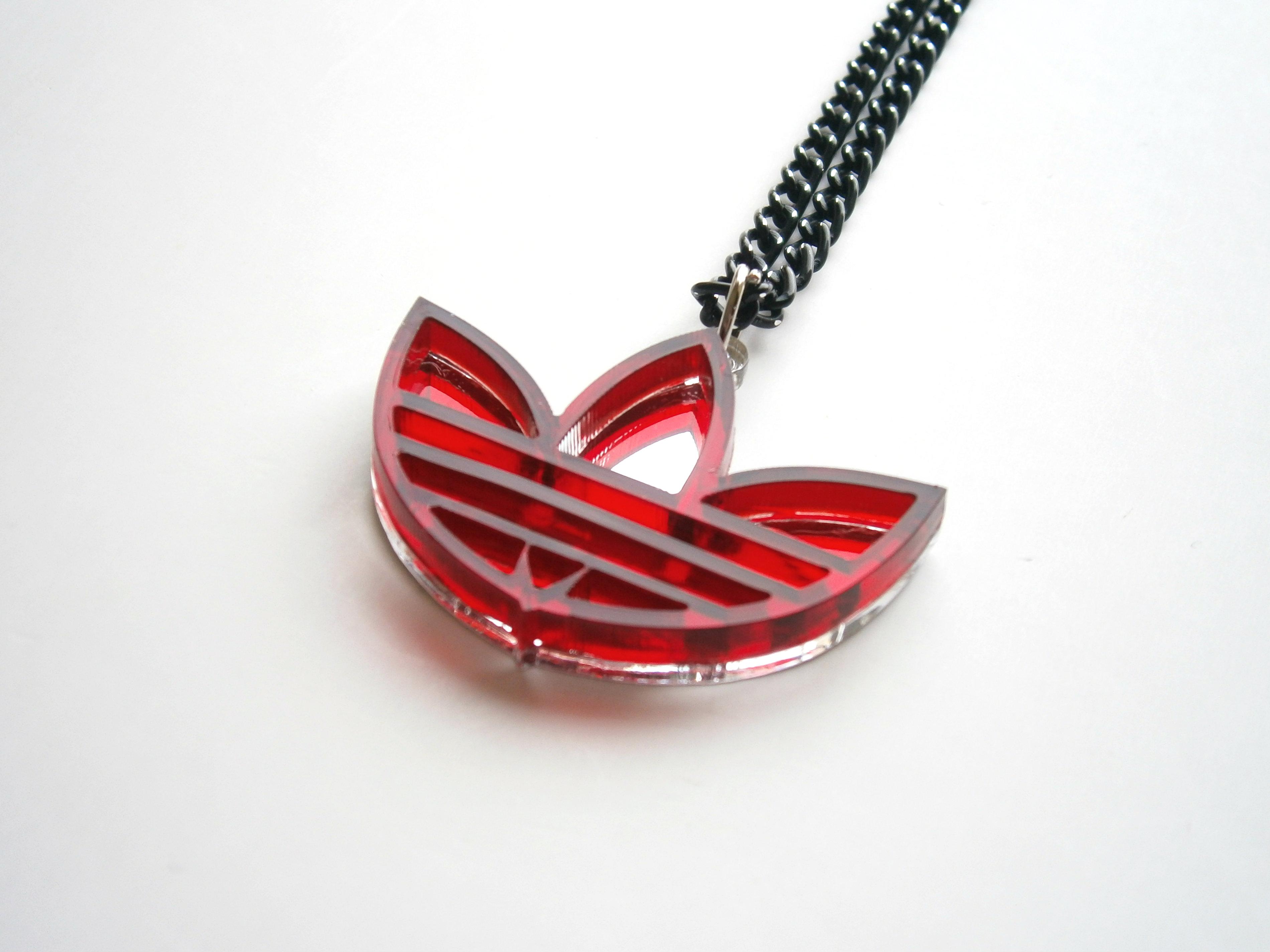 Adidas Necklace - Lasercut Mirror and red Plastic, Adidas Pendant