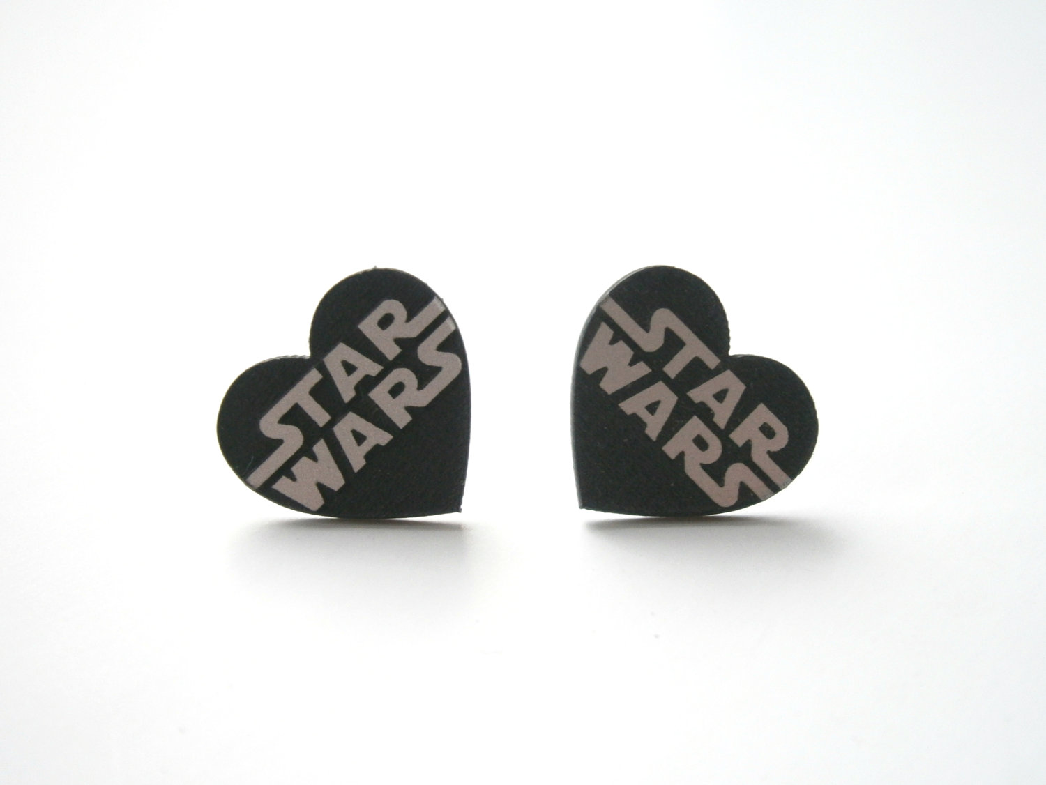 Star Wars Stud Earrings Laser Cut Heart Stud Engraved