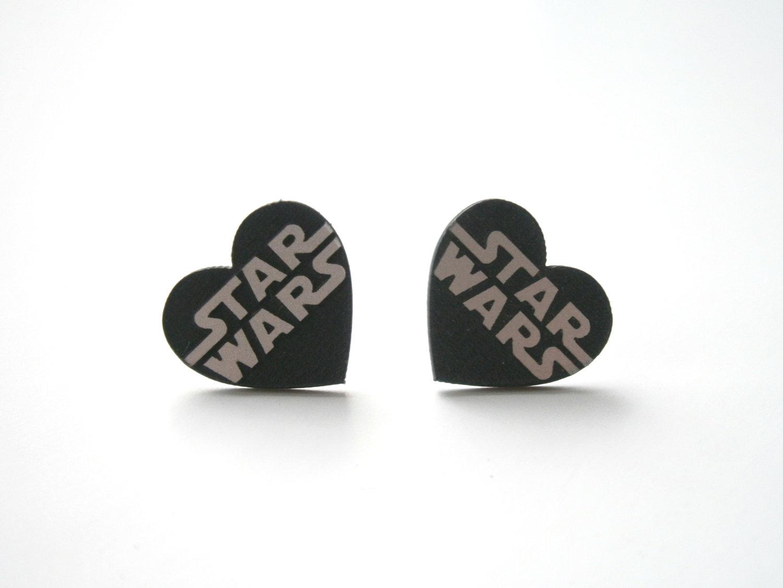 Star Wars Stud Earrings Laser Cut Heart Engraved Silver Logo