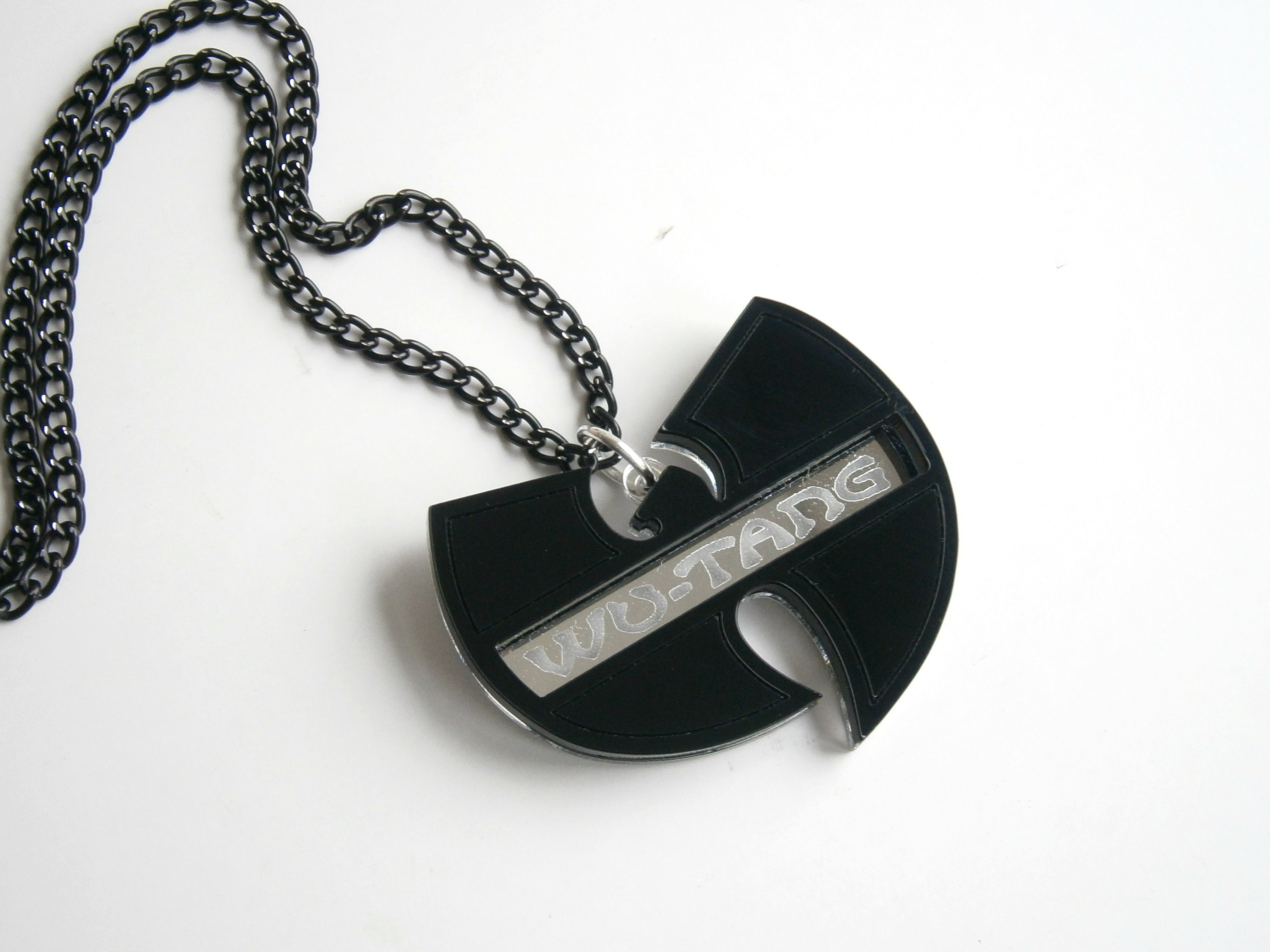 wu tang necklace laser cut and engraved hip hop pendant