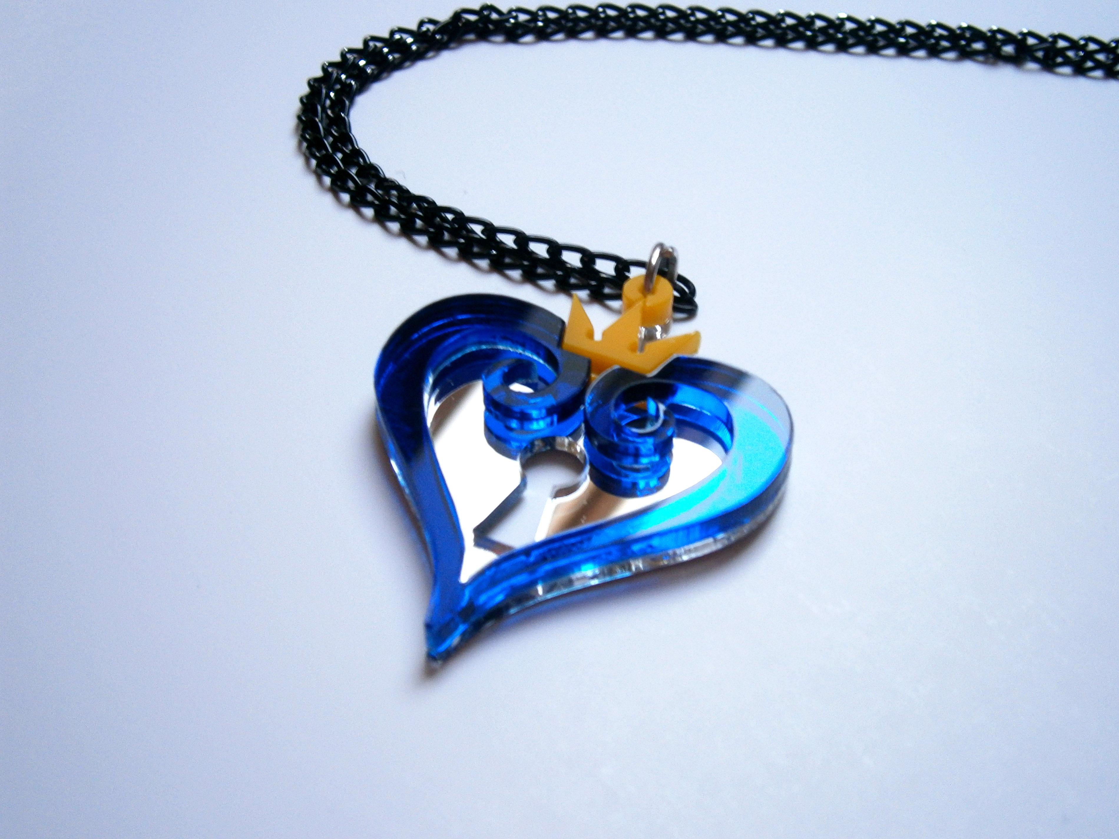 Kingdom hearts nobody emblem pendant necklace laser cut jewelry mozeypictures Images