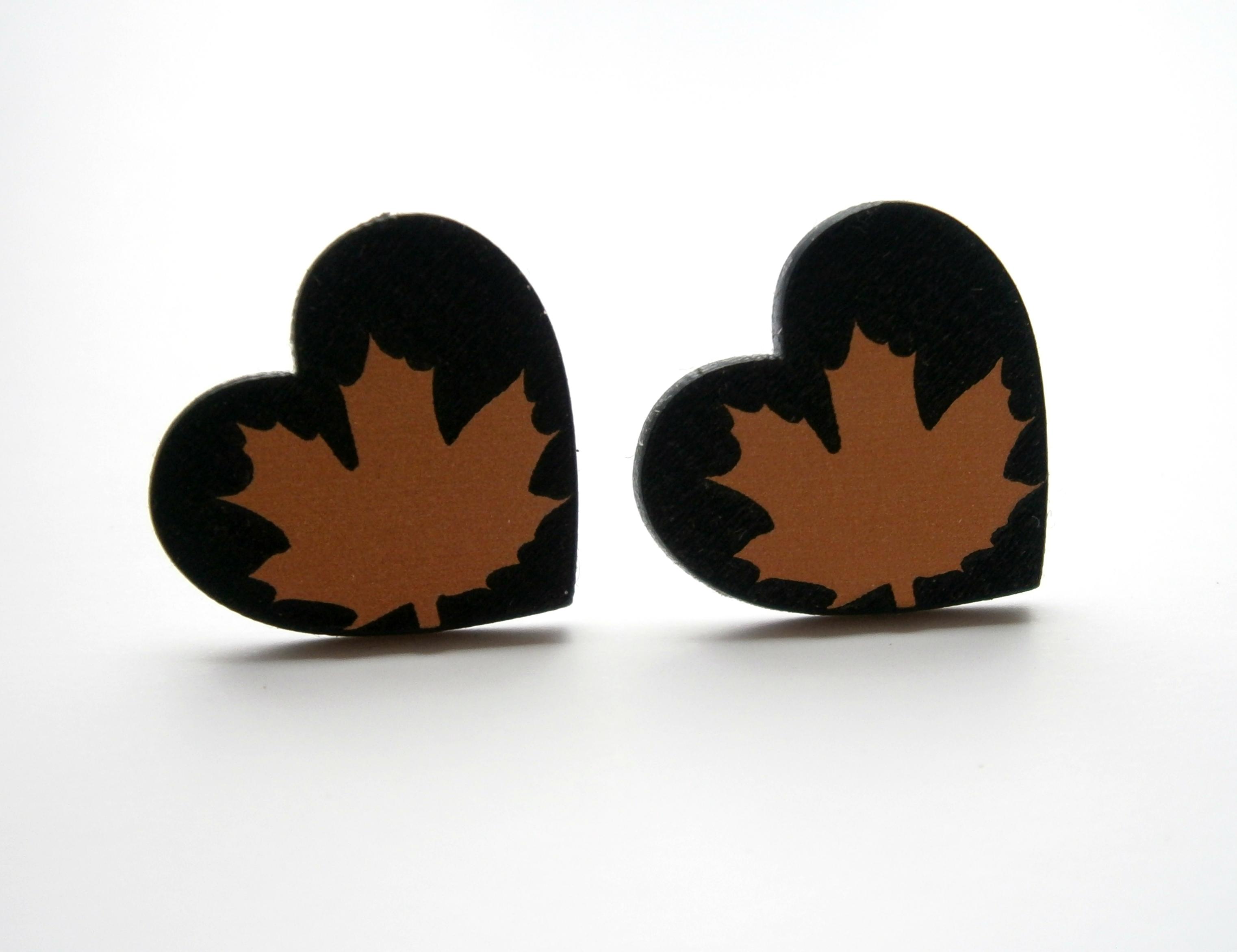 Maple Leaf Stud Earrings Laser Cut Heart Stud Engraved