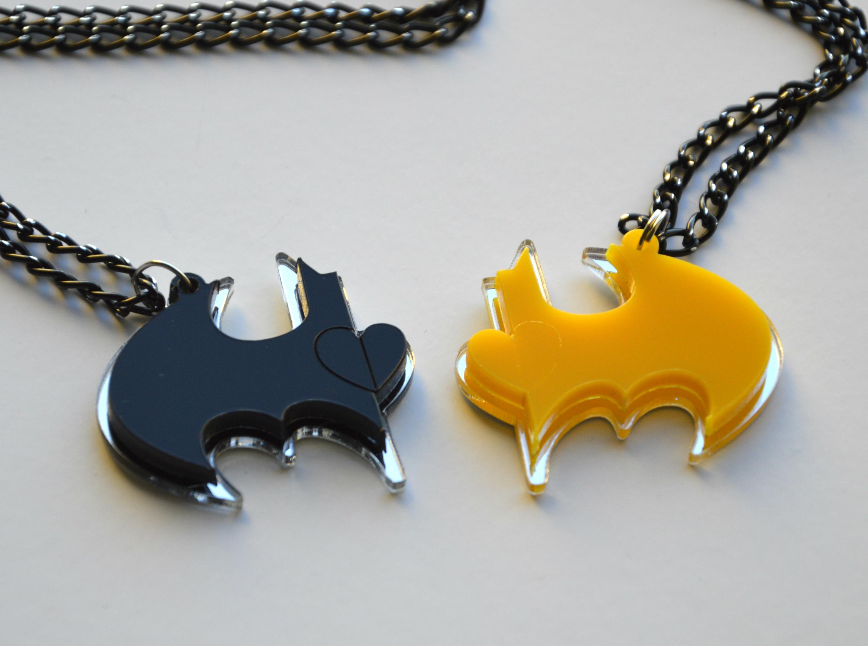 Batman Friendship Necklaces, Laser Cut Black and Yellow plastic