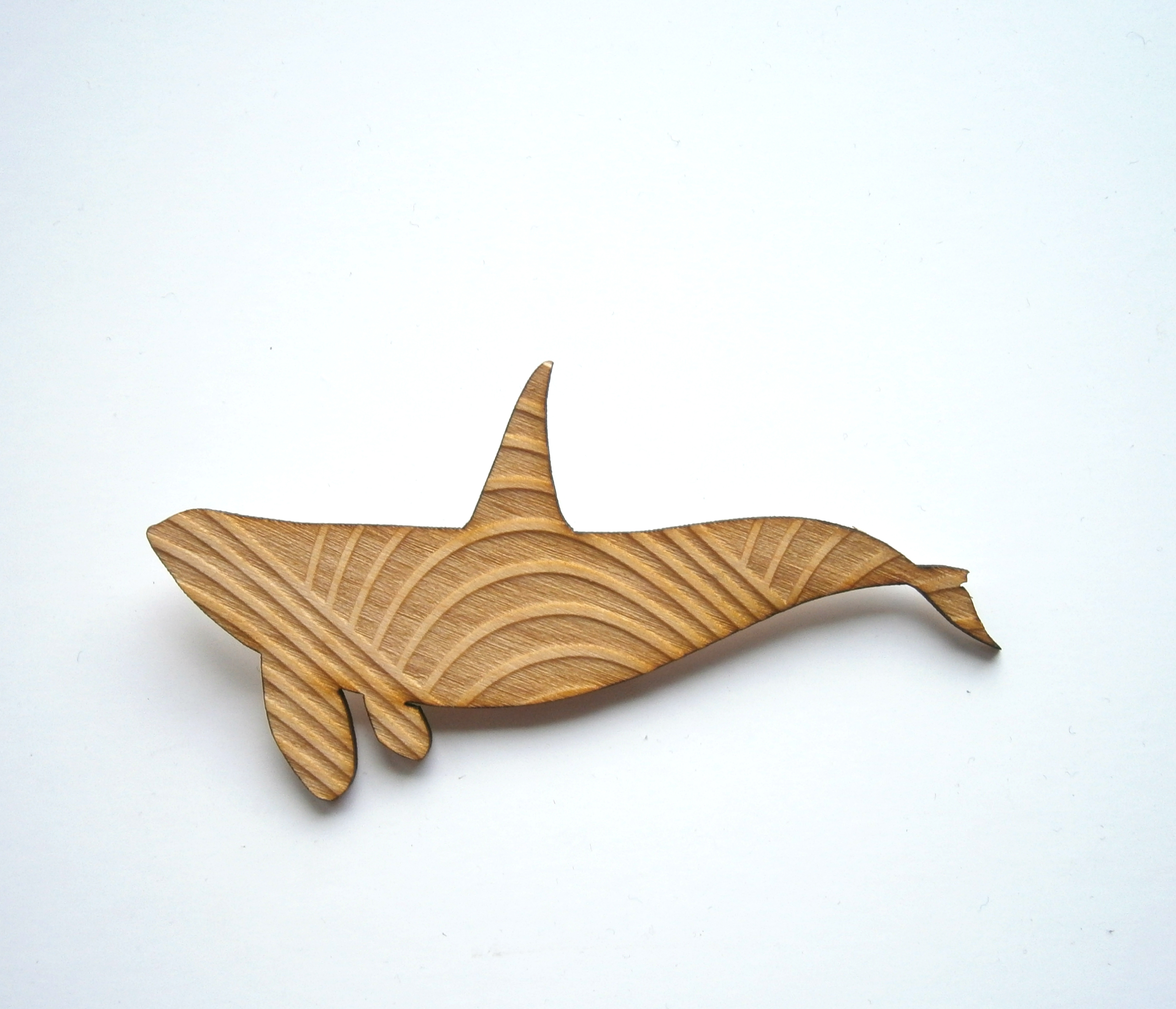 Wooden Whale Brooch Laser Cut Whale Shape Engraved