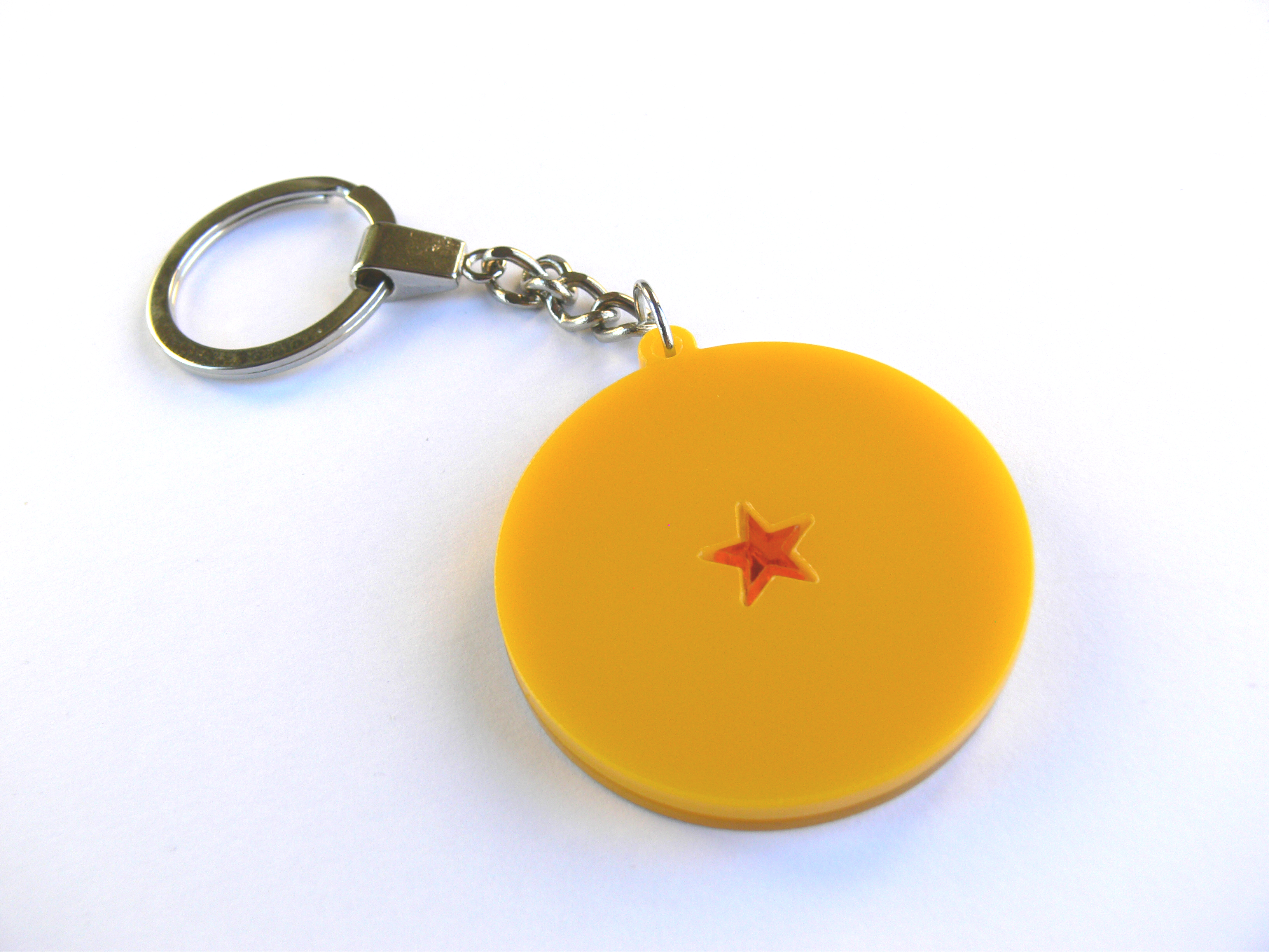 Dragon Ball Z One Star Ball Keychain Laser Cut From Yellow