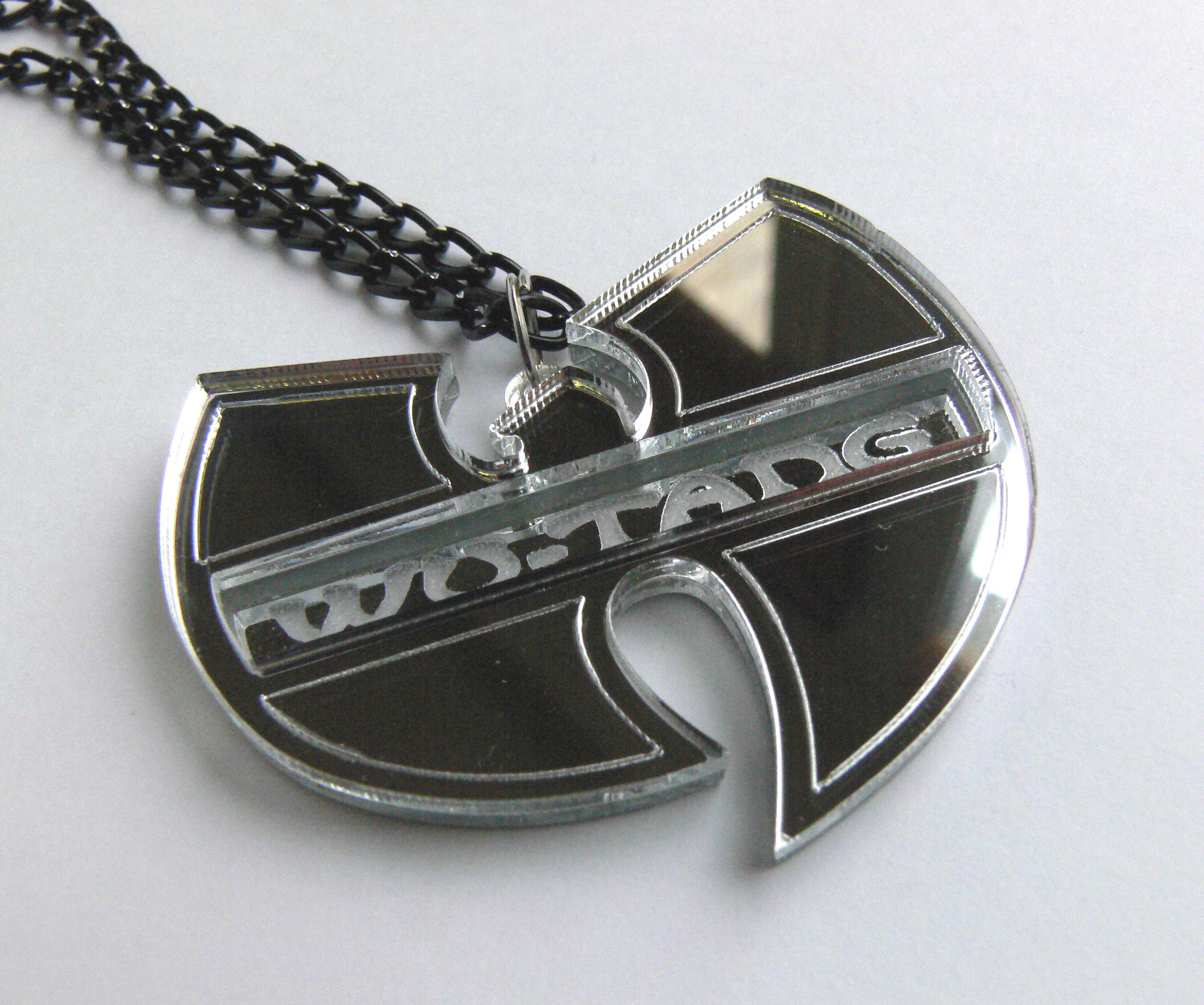 wu tang clan necklace laser cut and engraved mirror