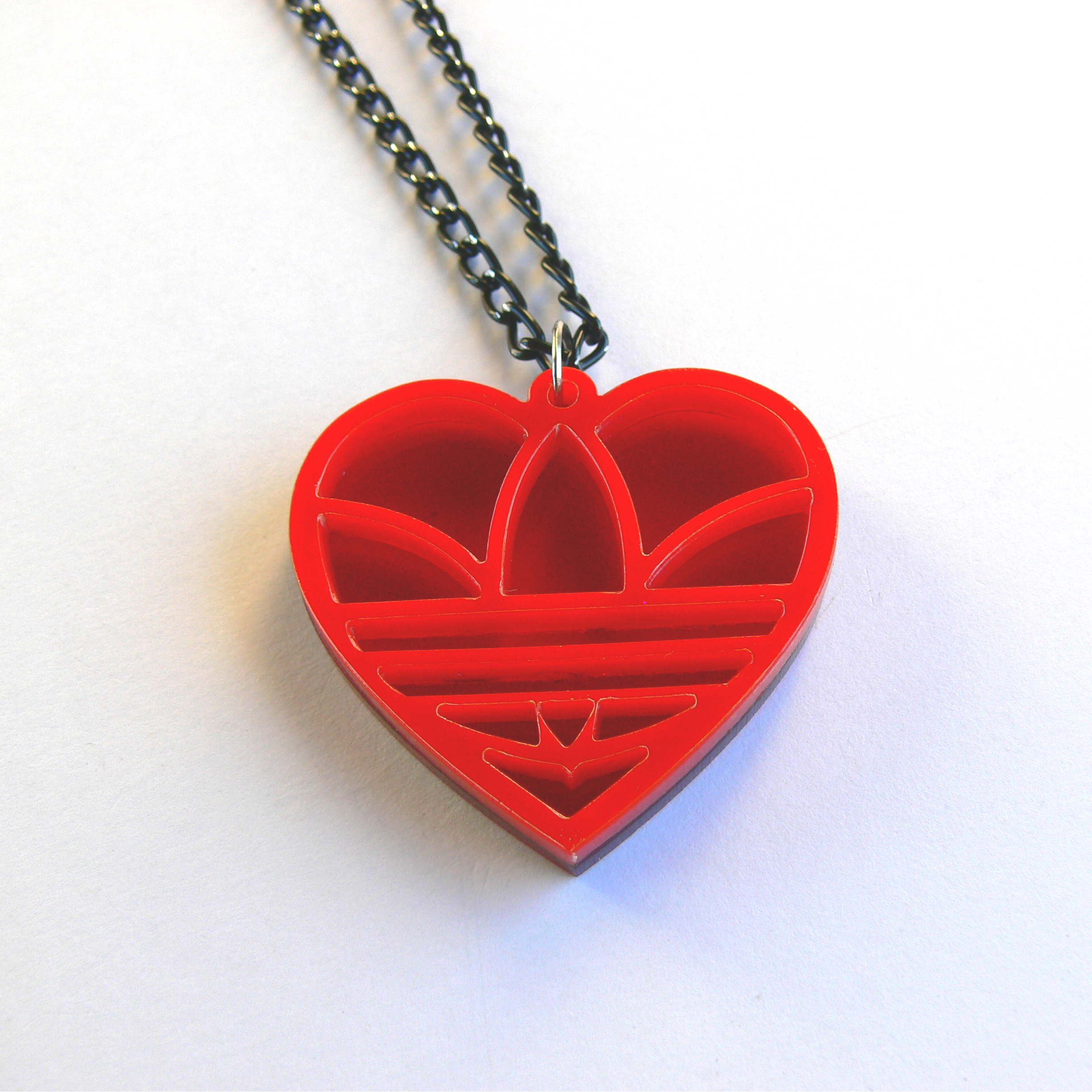 original on handmade product macrame valentine red s gift necklace under heart chain gold plated pendant
