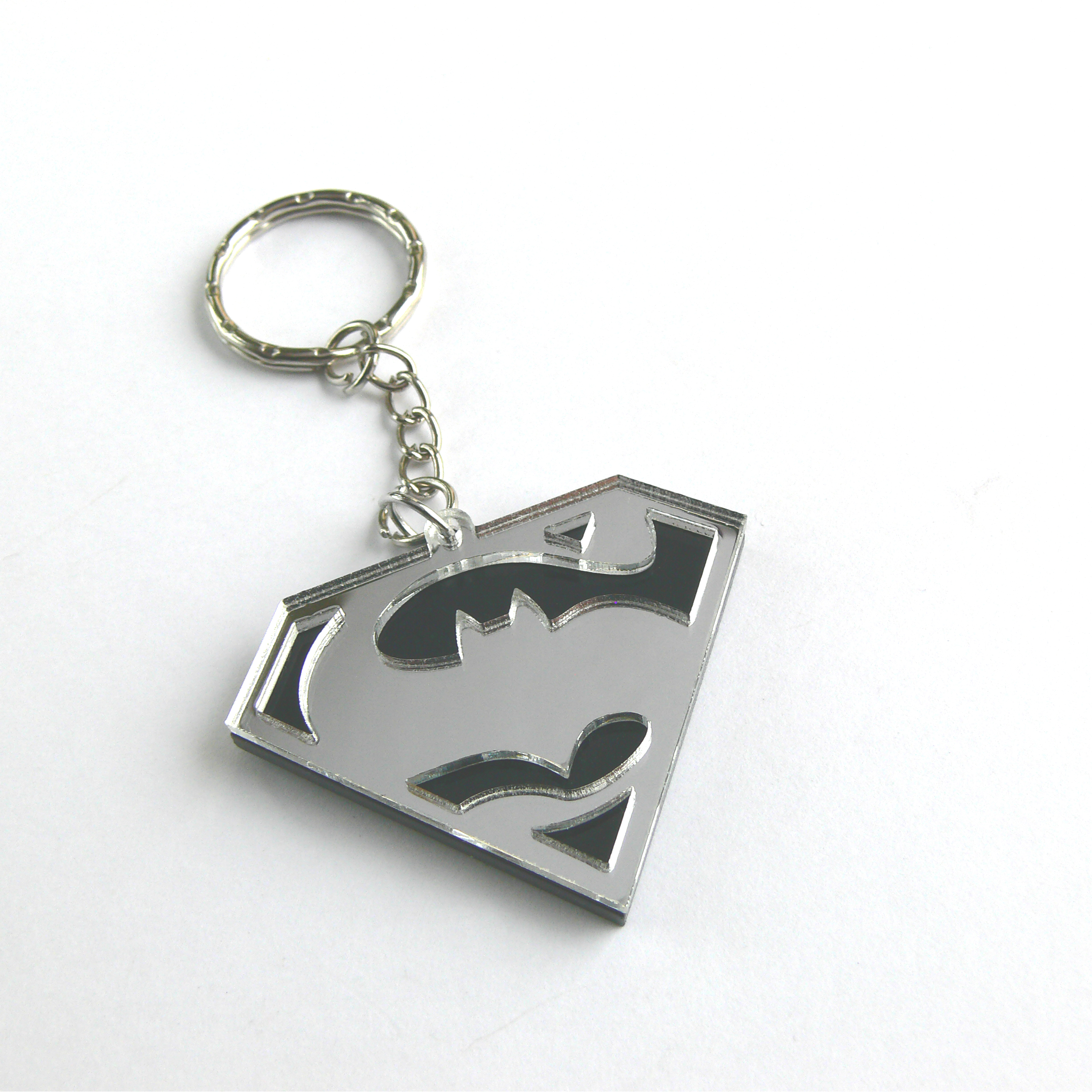 Batman V Superman Keychain Laser Cut Black And Mirror Acrylic