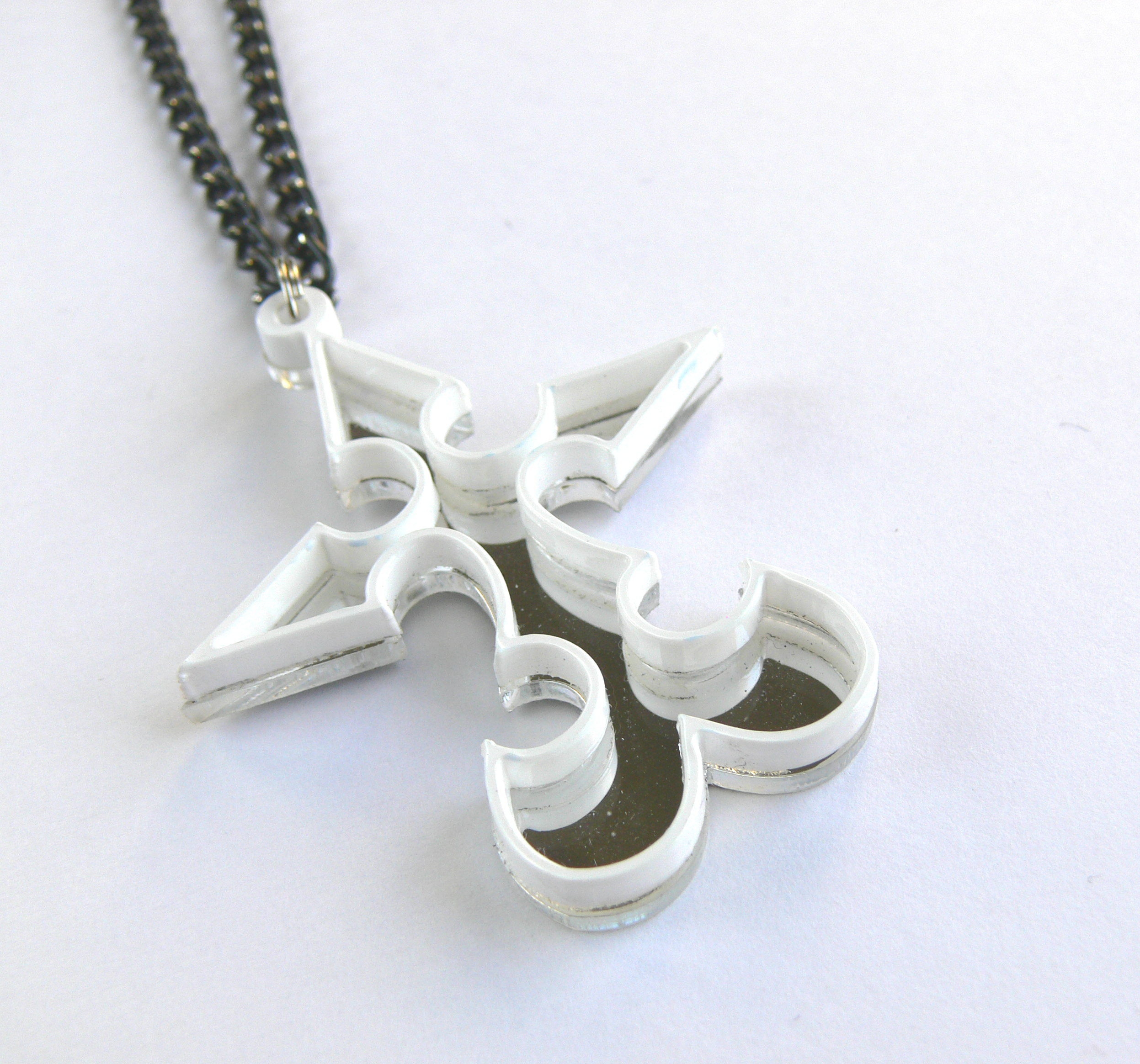 Kingdom Hearts Necklace Nobody Emblem Laser Cut From Mirror And