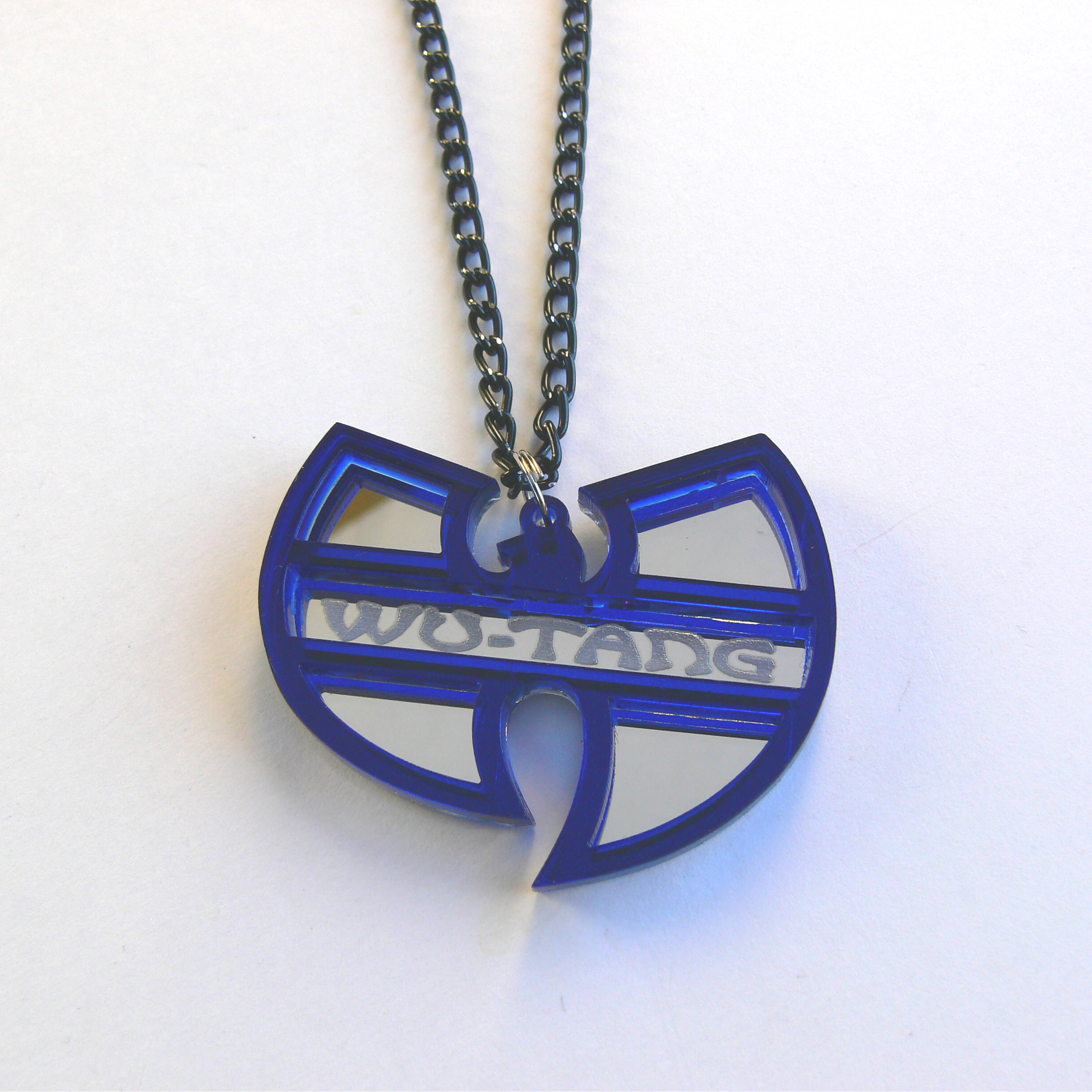 Wu tang clan fan necklace laser cut mirror and blue acrylic aloadofball Images