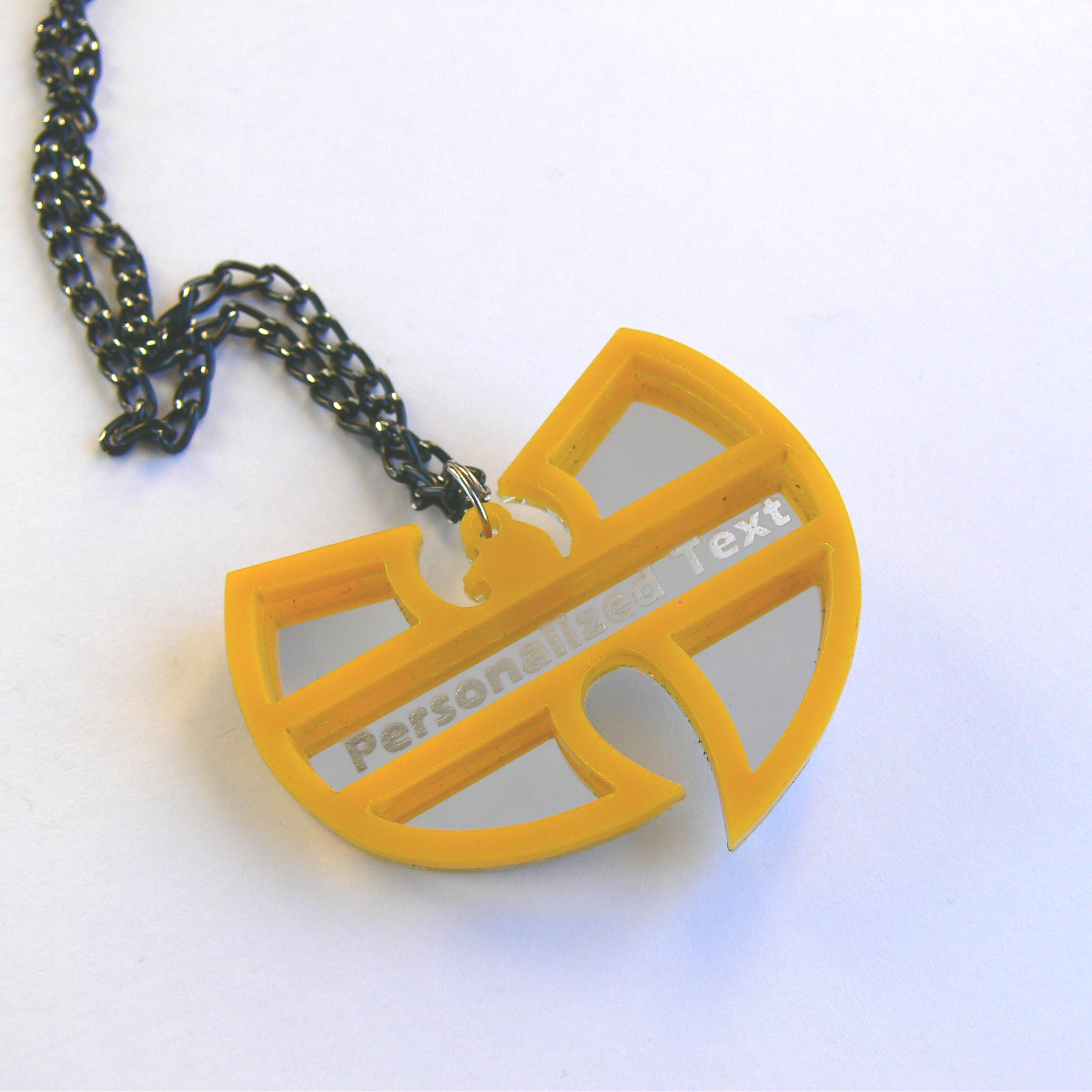 Wu tang clan personalized text necklace laser cut mirror and yellow wu tang clan personalized text necklace laser cut mirror and yellow acrylic aloadofball Images